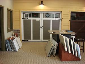 An interior view of Environmental Door's garage door showroom.
