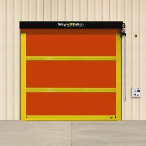 High Speed garage doors can close at speeds nearly 15x faster than conventional doors. A red panel commercial garage door with yellow brackets.
