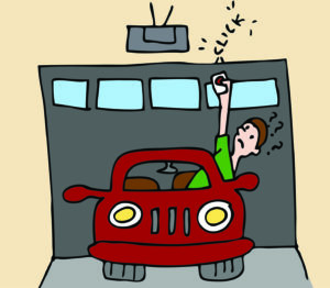 What happens when your garage door won't open? An illustration of a man trying to open his garage door from inside his car.