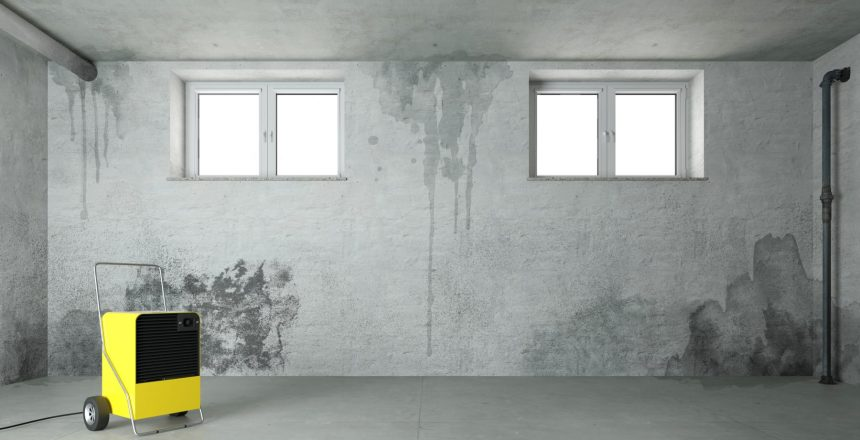 Garage humidity can cause wet spot in the concrete foundation